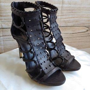 EUC Bebe Black Strap Stilettos size 7.5